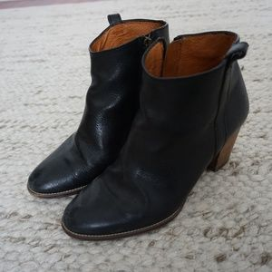 Madewell high-heeled ankle booties, black, Size 7